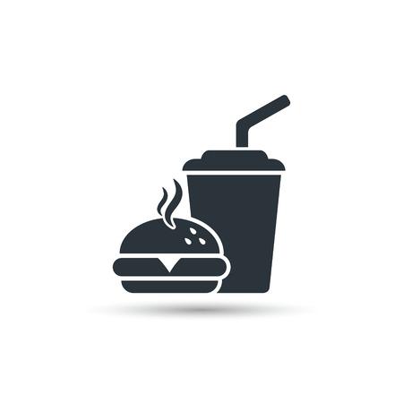 Fast food icon, vector isolated simple silhouette illustration. Çizim