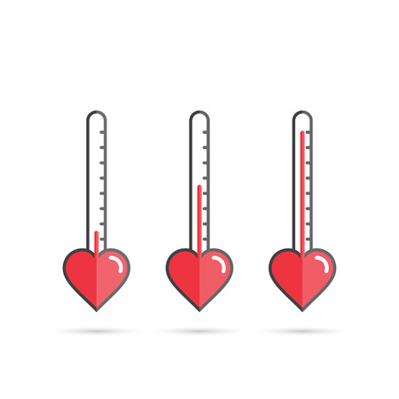 hot couple: Love meter heart thermometer vector concept illustration. Illustration