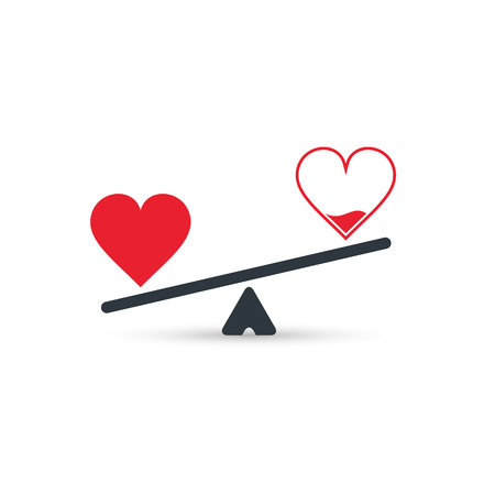 Full and empty heart on scales, measurement love level, vector concept.