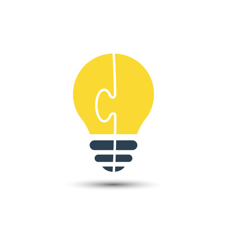 Bright light bulb made of puzzle, vector idea concept. Illustration