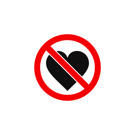 No love heart sign, vector isolated icon. Illustration