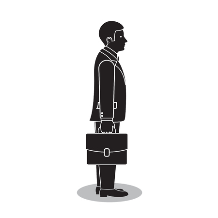 Businessman side view with briefcase or portfolio, vector isolated silhouette illustration.
