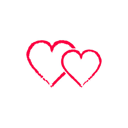 heats: Two Red love heats symbol of Valentine day in grunge style, vector icon. Illustration