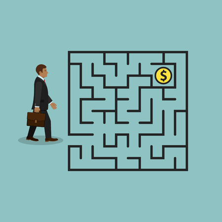 Businessman in labyrinth search money, vector business concept.