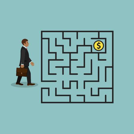 Zakenman in het geld van het labyrintonderzoek, vector bedrijfsconcept. Vector Illustratie