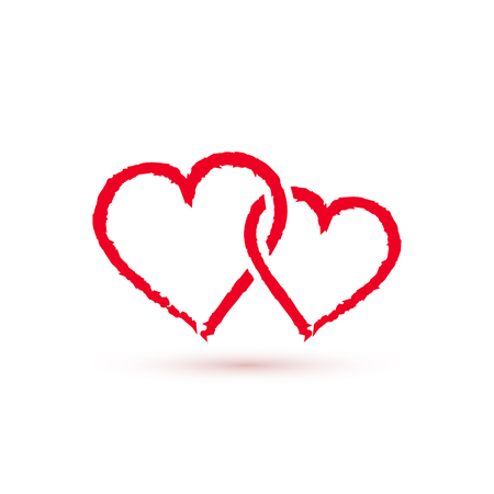 Two Red hearts symbol, vector love icon.