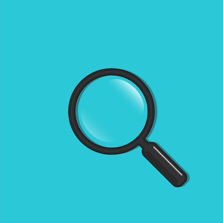 Magnifier icon in flat style, vector. Magnifying glass symbol isolated on blue background.