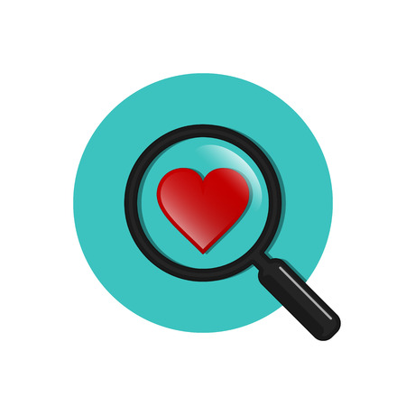 acquaintance: Search heart and love circle icon, vector. Magnifying glass with heart inside. Dating illustration.