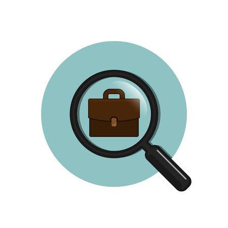 Magnifying glass with flat portfolio briefcase, vector flat circle illustration.