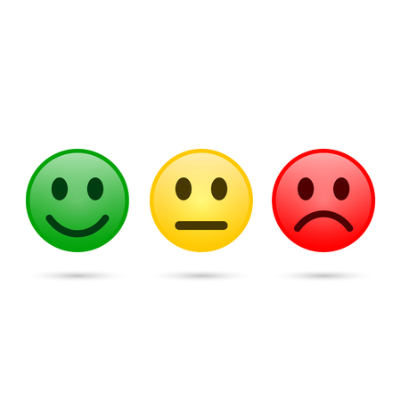 Smiley emoticons icon positive, neutral and negative, vector isolated illustration of red, yellow and green different mood.
