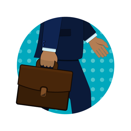Businessmans hand holding briefcase, vector circle icon in retro pop art style. Illustration