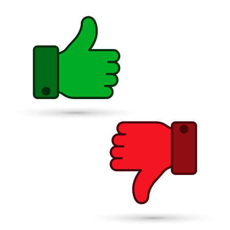 Thumb up, thumb down icon, green and red sillouettes. Vector evaluation symbol.