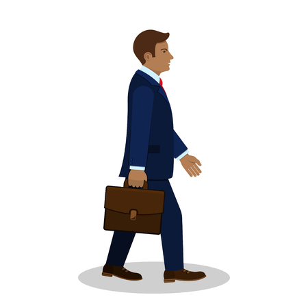 Walking businessman with briefcase, side view, vector.
