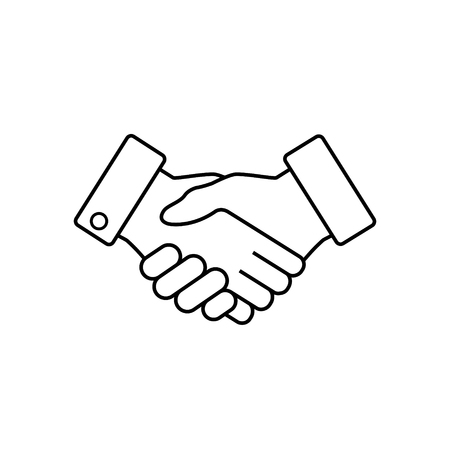 Icona di affari della stretta di mano, icona piana di web di accordo di contratto, vettore.