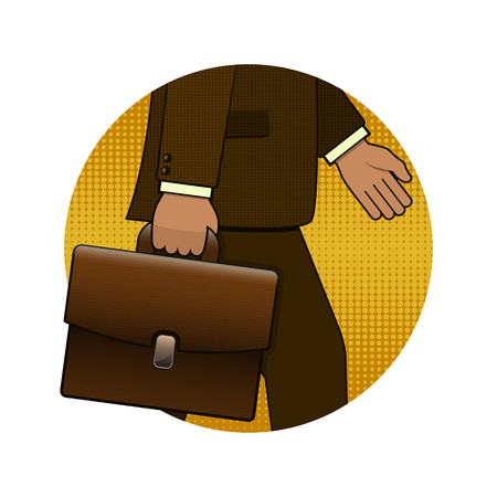 Businessman holding briefcase illustration in pop art retro style, vector circle logo icon. Illustration