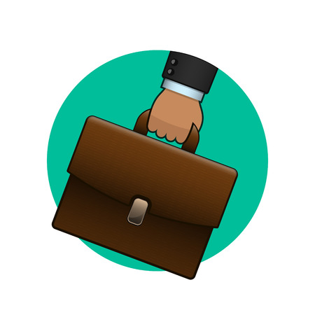 Businessman holding briefcase, vector circle logo icon. Illustration