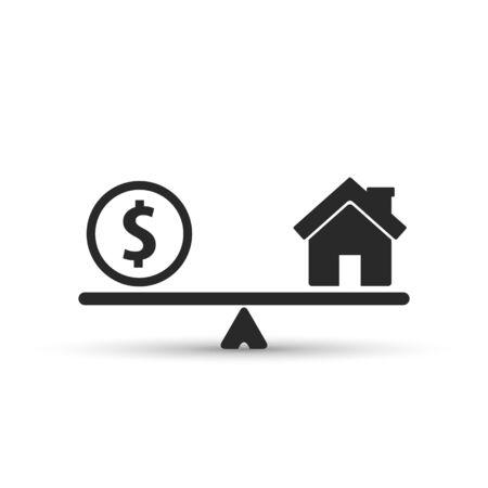 Geld und Haus skaliert Ikone. Münz- und Hausguthaben im Maßstab. Immobilienverkauf. Gewichte mit Haus- und Geldmünze. Vektor isoliert Zeichen. Vektorgrafik