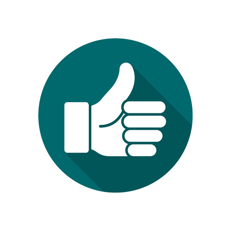 Thumb up vector logo icon. Like round simple isolated sign symbol.