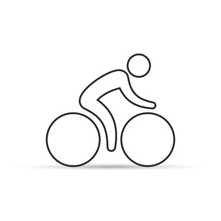 Cyclist line icon, vector isolated simple symbol.