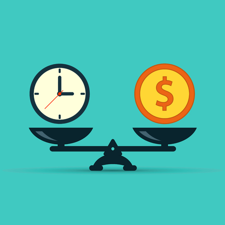 Time is money on scales icon. Money and time balance on scale.