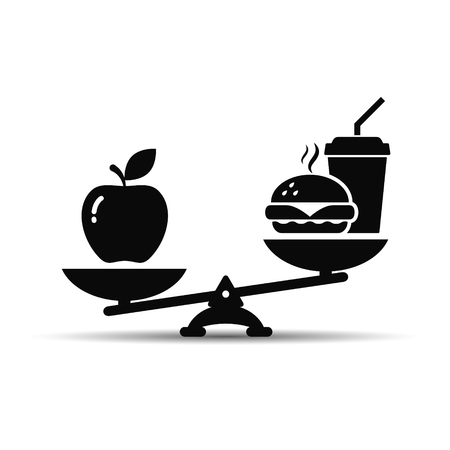 Scales with apple and hamburger fast food icon.