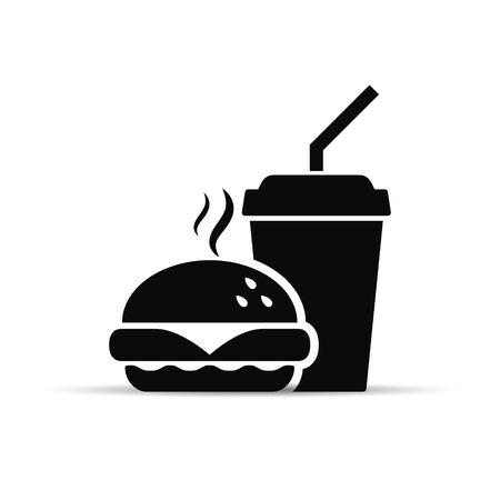 Fast food icon burger and drink, vector isolated simple black sign.