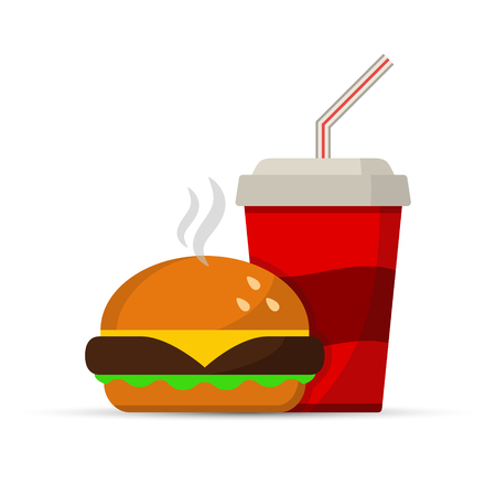 Fast food icon burger and drink, vector isolated black color sign.