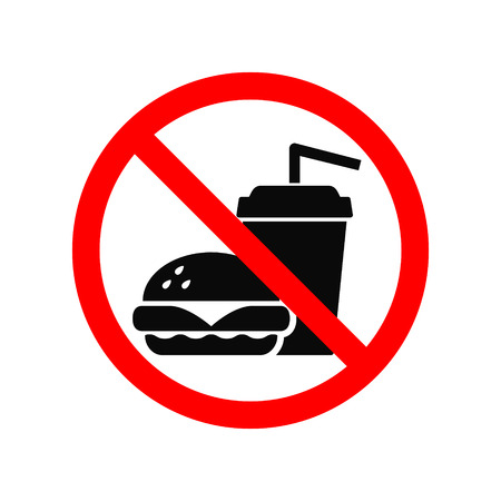 No fast food allowed symbol, isolated on white background. Prohibition sign. Vettoriali