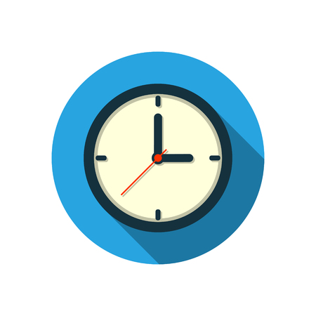Flat clock icon logo with long shadow isolated on white background. Vector.