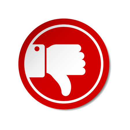 Flat Thumb Down icon sticker on red circle. Vector evaluation illustration.