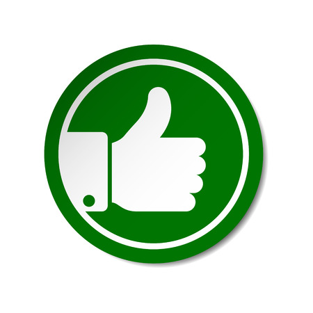 Green thumb up button round sticker. Vector sign.
