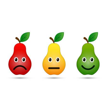 Pear emoticons icon set positive, neutral and negative, vector evaluation illustration.