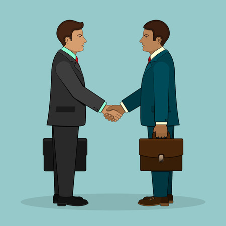 Meeting of two businessmen and business handshake. Vector illustration.