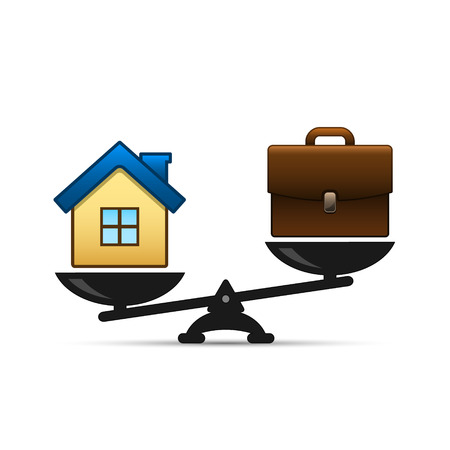 Home and business scales icon. Weight between work, money and your family. Career and family are on the scales. Balance your life business concept. Family or money. Vector illustration. Vettoriali