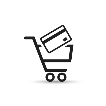 Pushcart with bank card e-commerce icon vector illustration.