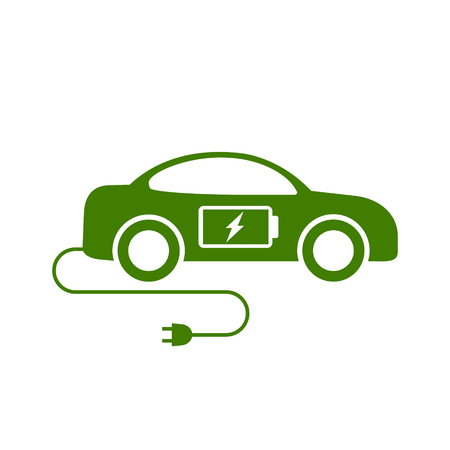 Electric car icon, vector. Side view eco car illustration.