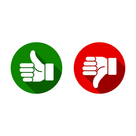 Thumb up, thumb down, green and red sillouettes. Vector evaluation sign. Illustration