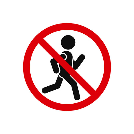 sign: No run sign on white background, vector isolated illustration. Illustration