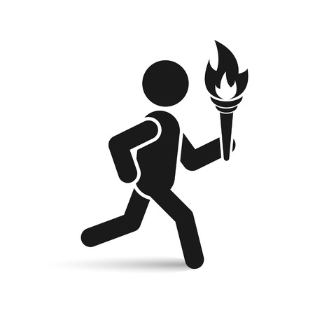 Man with tourch flame icon. Vector isolated illustration.
