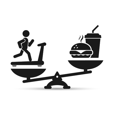 food: Man treadmill vs fast food on scales, vector loss weight concept illustration.