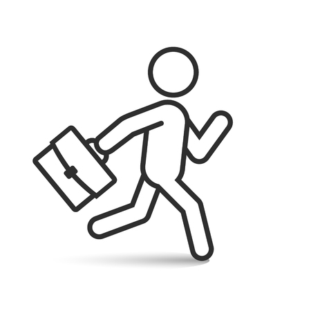 Businessman running with his briefcase, vector isolated outline icon.