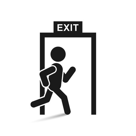 Emergency exit sign, vector isolated simple illustration. Stock Illustratie