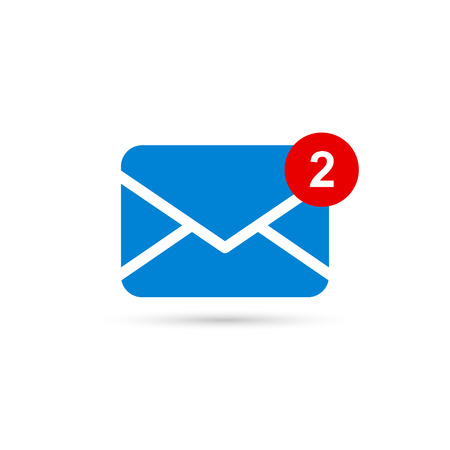Dos nuevos íconos de mensajes con notificación. Sobre con mensaje entrante. Vector símbolo Ilustración de vector