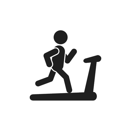 Man on treadmill icon. Vector isolated sport run illustration.
