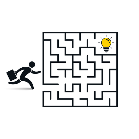 Businessman in labyrinth search idea light bulb, vector business concept.