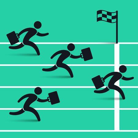 Businessmen running down the track. Business vector illustration. Illustration