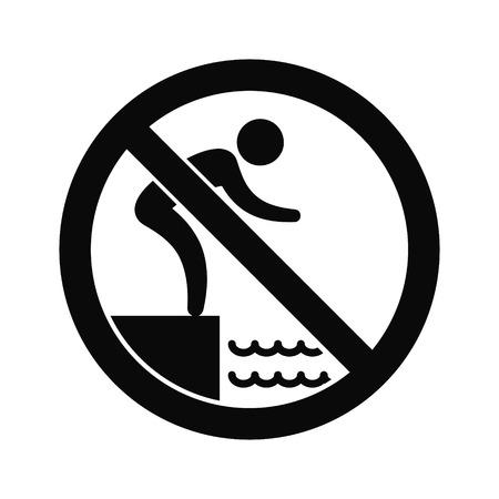 jumping into water: No jumping into water hazard warning sign.