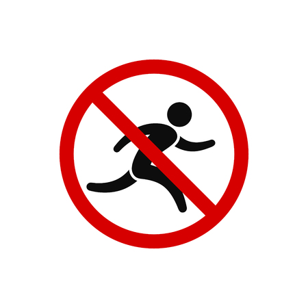 sign: No run, prohibition sign. Running prohibited, vector illustration.