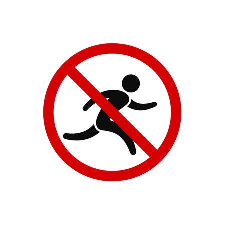 No run, prohibition sign. Running prohibited, vector illustration.
