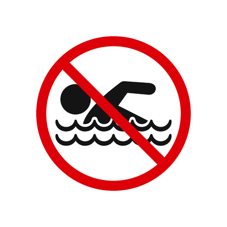 No swimming sign isolated on white background, vector illustration. Çizim